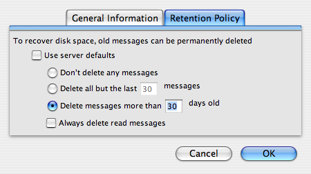 Thunderbird Mail Retention Policy Dialogue Box