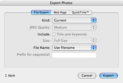 iPhoto 7 - Default Export Settings