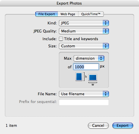iPhoto 7 - Export Settings - Custom Size