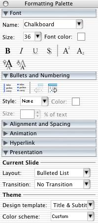MS PowerPoint Mac - 'Inspector'