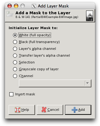 Partial B & W Example - Add Layer Mask