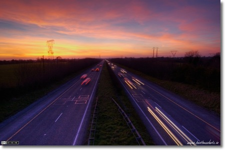 Sunset Over the M4