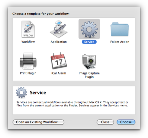 Open Automator and create a new Service