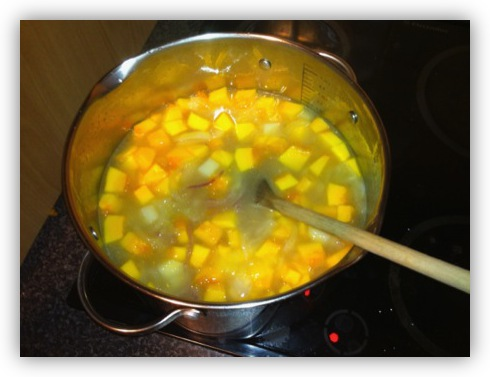 Add water and the Potatoes and Pumpkin to the Pot