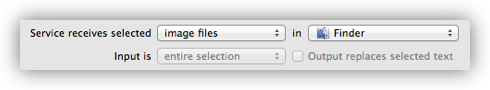 Set The Service to Accept Image Files in Finder