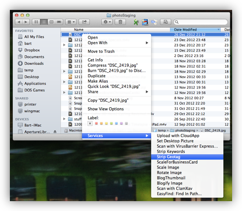 The Service in Use in the Finder