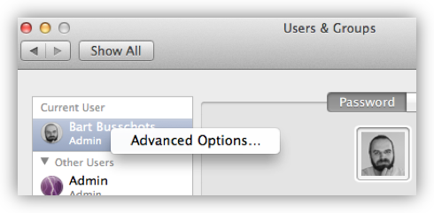Select Advanced Options ...